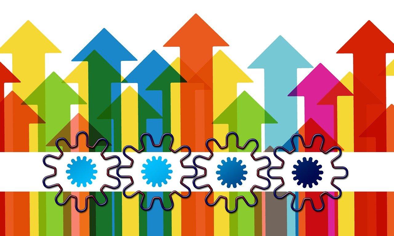arrows, growth hacking, gears