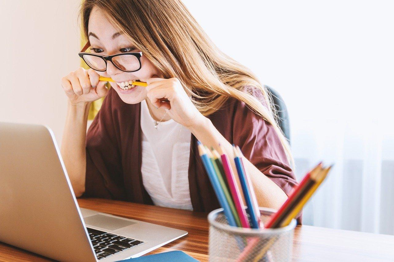 laptop, woman, education